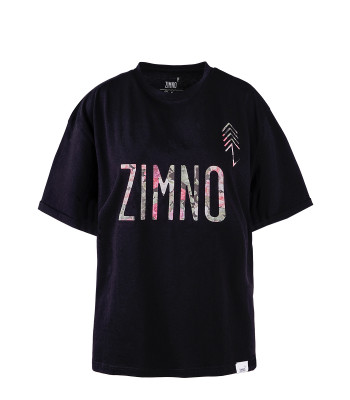 T-Shirt Oversize Damski Czarny w Peonie